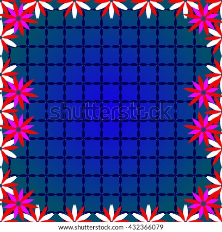 Bright  background image of color flowers and openwork mesh in the background.