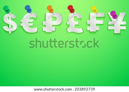 Bright Background of Currency symbols pinned pushpin with space for text. Vector Illustration. - stock vector