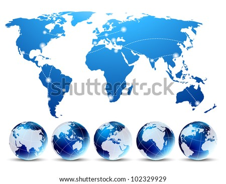 Bright background with blue map and globes - stock vector