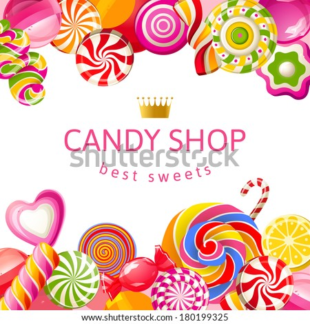Bright background with candies - stock vector