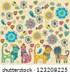 Bright background with cats, birds, flowers and hearts, vector - stock vector