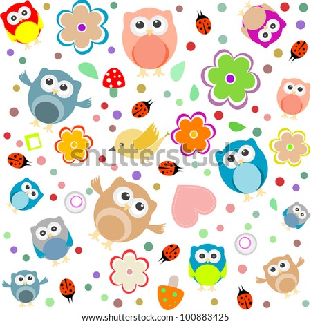 Bright background with owls, leafs, mushrooms and flowers. Seamless pattern - stock vector