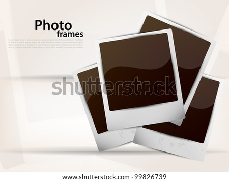 Bright background with photoframe and white line - stock vector