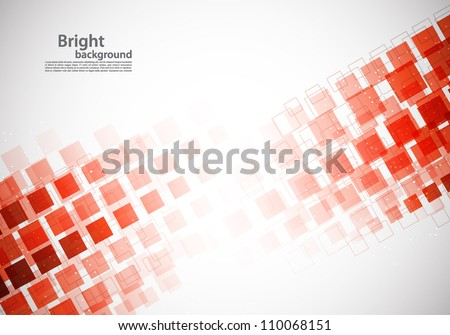 Bright background with red squares and light - stock vector