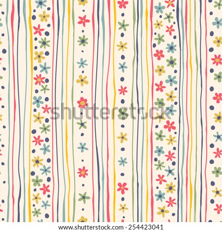 Bright background with strips and flowers. Seamless pattern can be used for wallpapers, fabric, pattern fills, web page backgrounds, surface textures. - stock vector