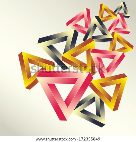 Bright background with the optical illusion executed in the form multicolored impossible falling triangles - stock vector