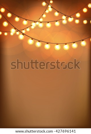 Bright Background With Vintage Garlands Christmas Lights Vector EPS10