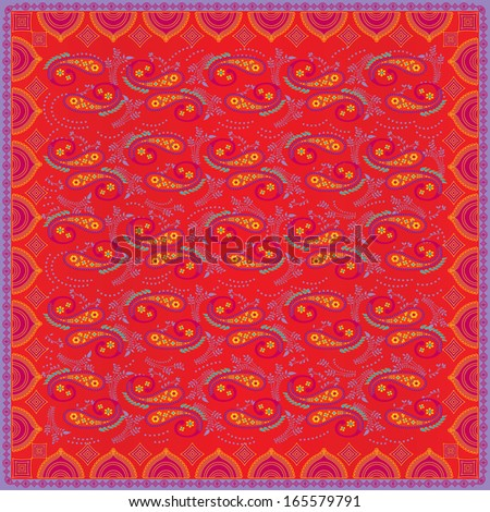 Bright Bandana in Traditional Paisley Pattern - stock vector