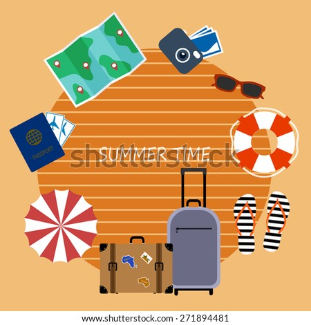 bright banner, elements of summer holiday plane style. - stock vector