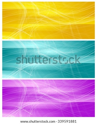 Bright banners with abstract chaotic wavy lines. Vector graphic background - stock vector
