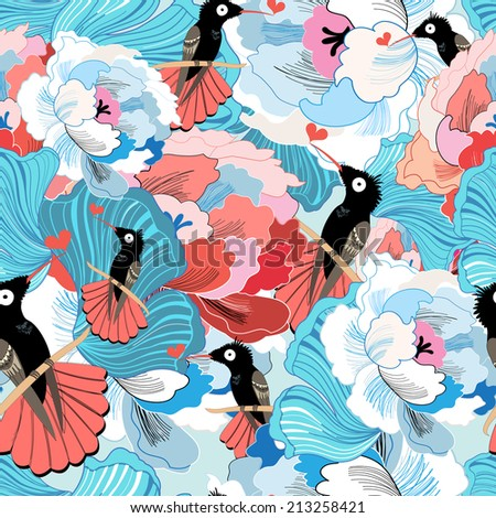 bright beautiful floral pattern with hummingbirds on a blue background   - stock vector