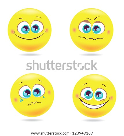 Bright beautiful smiles volume with different emotions isolated - stock vector
