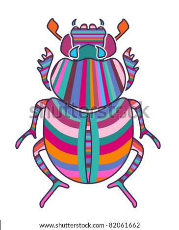 Bright beetle - stock vector