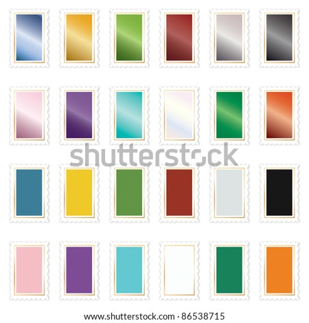 bright blank stamps in solid and gradient colours - stock vector