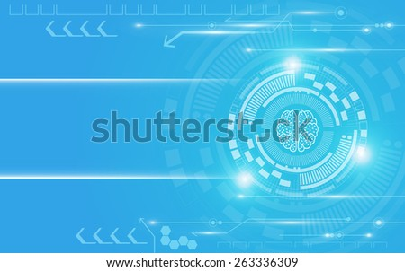 bright blue and white technology abstract background - stock vector