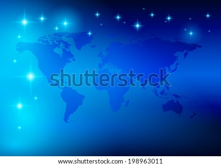 bright blue background - world map with stars - vector. Eps10  in  RGB.