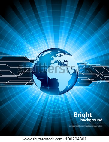 Bright blue tech background with globe and ray - stock vector