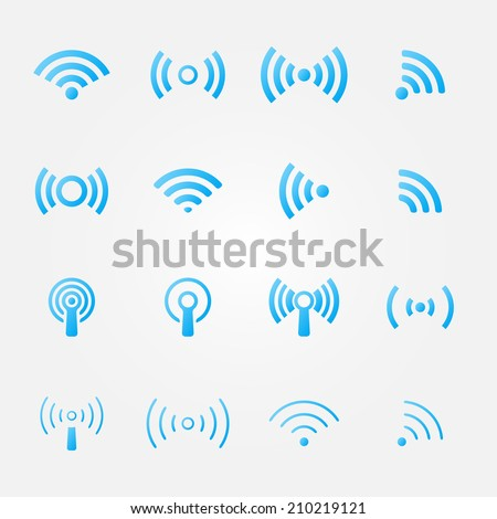 Bright blue wireless icons set - vector WiFi symbols for communication or remote access - stock vector