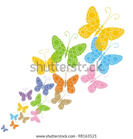 bright butterflies on a white background with space for text - stock vector