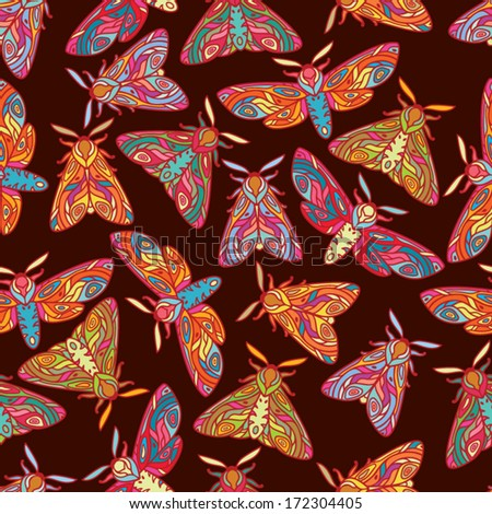 Bright butterflies or moths seamless pattern. Colorful insects illustration. Moths isolated on dark background. - stock vector