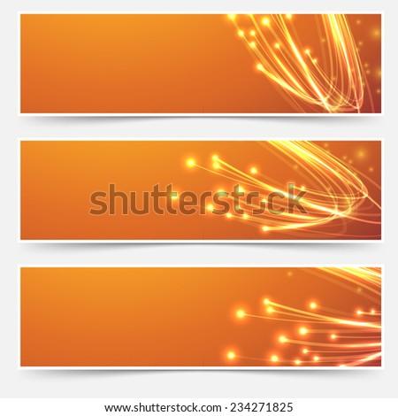 Bright cable bandwidth speed swoosh header - fiber optic broadband internet electricity flow. Vector illustration - stock vector