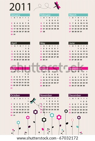 Bright calendar 2011 with flowers and dragonflies - stock vector