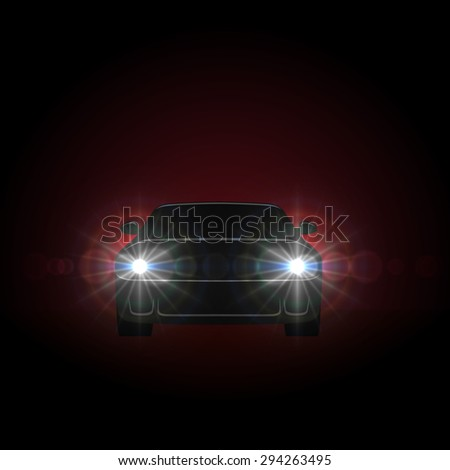 Bright car headlights shining from dark background with copy space. - stock vector