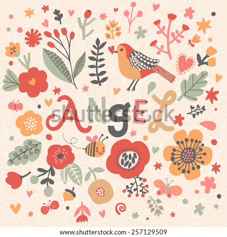Bright card with beautiful name Angel in poppy flowers, bees and butterflies. Awesome female name design in bright colors. Tremendous vector background for fabulous designs - stock vector