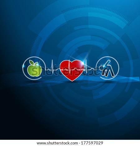 Bright cardiology symbols, healthy living concept. Healthy food and fitness leads to healthy heart and life.  - stock vector