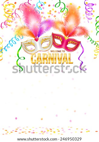 Bright carnival masks with confetti and golden sign on white background, vector party poster template - stock vector