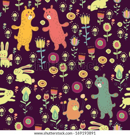 Bright cartoon pattern with animals. Cute seamless pattern with forest animals