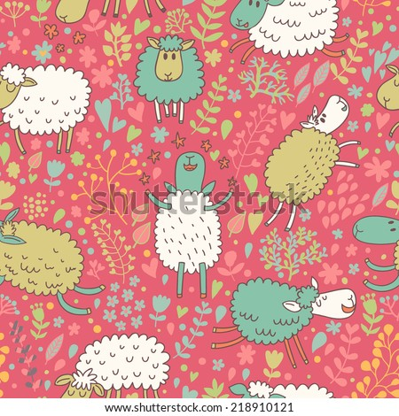 Bright cartoon sheep in the sky - childish background in vector. Seamless pattern can be used for wallpapers, pattern fills, web page backgrounds,surface textures. - stock vector
