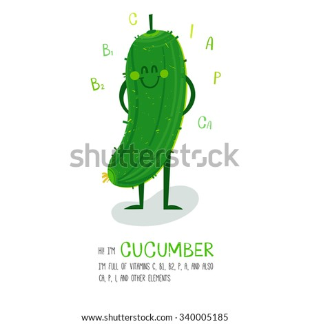 Bright cartoon style vegetable element cucumber design, with geometric hand drawn letters. can be used for invitations, card, posters and other design