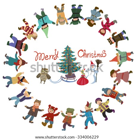 Bright cartoon vector Christmas New Year card. Funny and smiling girls and boys dancing around the Christmas tree. Winter holiday background with a bird and gifts. Round frame of the children. - stock vector