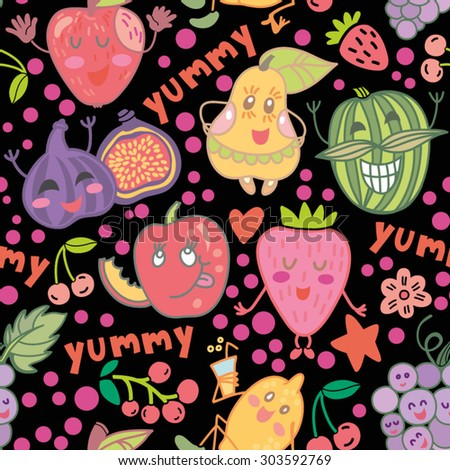 Bright cartoon vector seamless pattern of funny fruits.