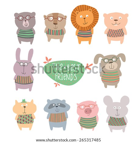 Bright childish background with  cute animals - stock vector