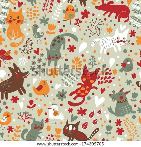 Bright childish seamless pattern with birds, cats and funny dogs in vector. Seamless pattern can be used for wallpapers, pattern fills, web backgrounds,surface textures. Gentle childish wallpaper - stock vector