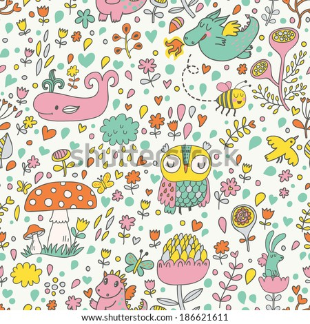 Bright childish seamless pattern with fairy forest, mushrooms, owl, birds, dragons, bees, rabbits, whale and flowers. Spring floral vector background can be used for pattern fills, web page textures - stock vector