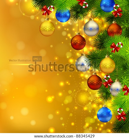 bright Christmas background with fir tree, candies and evening balls