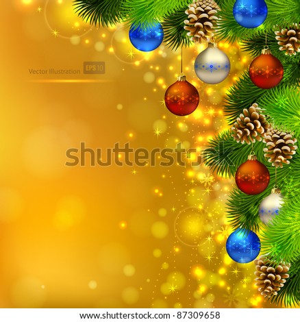bright Christmas background with fir tree, cones and evening balls