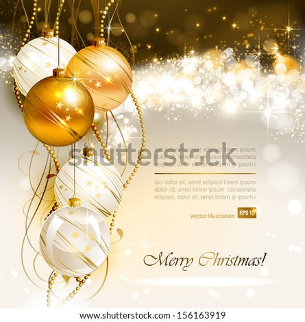 bright Christmas background with gold and white evening balls  - stock vector