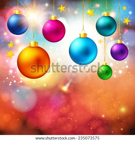 Bright Christmas card with realistic xmas balls. Vector illustration.
