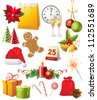Bright Christmas design elements set - stock vector