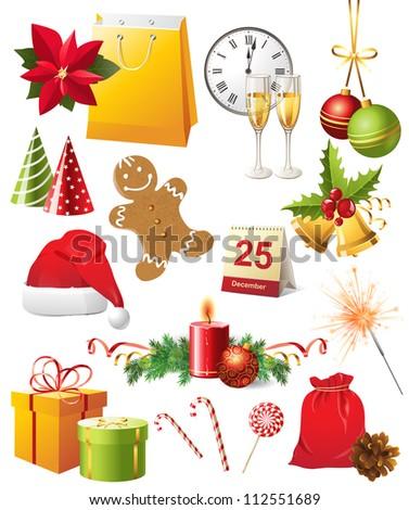 Bright Christmas design elements set - stock vector