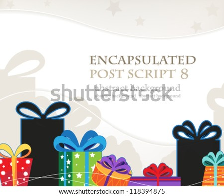 Bright Christmas gifts on a wavy beige background - stock vector