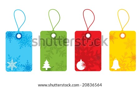 Bright christmas snowflake gift tags