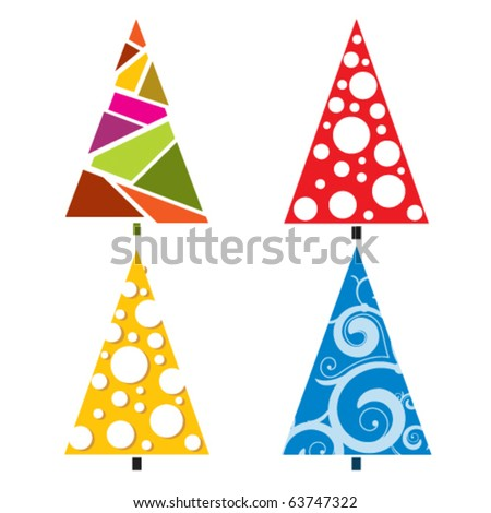 Bright Christmas trees with different elements - stock vector
