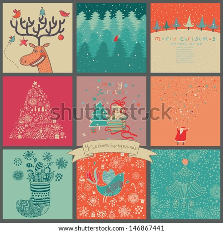 Bright Christmas vector set. Cartoon New Year cards with Santa, Deer, birds and other holiday elements.  - stock vector