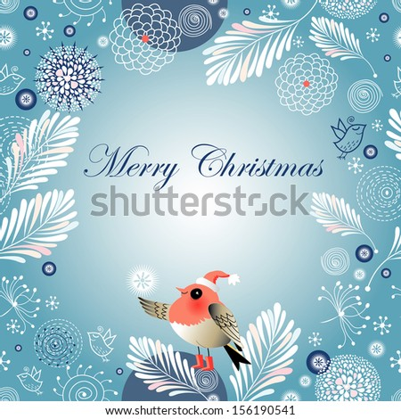 bright Christmas winter background with birds on a blue background with snowflakes  - stock vector