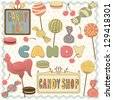 Bright collection of candy - stock vector